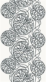 Bottna on Marimekon kaunis, mustakuvioinen, Anna Danielssonin signeeraama valkoinen puuvillakangas.