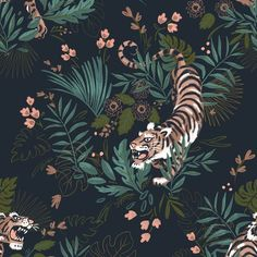 "Direct reference to the Book of the Jungle, this wallpaper features a wild and elegant tiger. Wallpaper ""Sherkan"" – € the roll of 53 cm x m – Monoprix by pascalineboyet Punky B, Kids Zone, Jungles, New Wallpaper, Watercolor Background, Watercolour, How To Feel Beautiful, Decoration, Flower Pots"