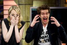 """Andrew Garfield, Emma Stone --- they're freaking out as they watch real-life people try to do Spider-Man stunts """"with varying levels of success""""!"""