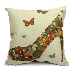 Pillow Cases Standard Size, CaseShell Colorful Butterflies High-heeled Shoe Pattern Cotton Linen Square Throw Pillow Case Decorative Cushion Cover Pillowcase for Sofa 18x18 Inch >>> Visit the image link more details.