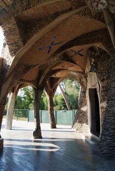 Church of Colònia Güell Gaudi Vita Sackville West, Antonio Gaudi, Barcelona Architecture, Parc Guell, Roads And Streets, Lenotre, Monet, Barcelona Catalonia, Cathedral Church