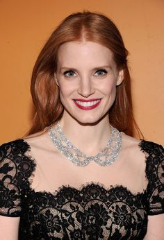 "Actress Jessica Chastain wears a diamond Queen by Harry Winston necklace, to a recent screening of ""Mama"" and the New York Film Critics Circle."