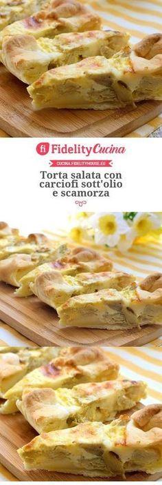 Torta salata con carciofi sott'olio e scamorza Easy Cooking, Cooking Recipes, Pub Food, Ricotta, Strudel, Quiches, Buffet, Love Food, Food Inspiration