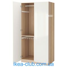 ИКЕА (IKEA) CLUB | 991.288.77, ПАКС, Шкаф платяной, под беленый дуб, Fardal блеск / белый, 100x60x201 см