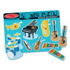 Musical Instruments Sound Puzzle With eight musical instruments, any child can feel like a band conductor. The puzzle board is made of sturdy wood that instruments can be placed in. Once the instrumen Wooden Pegs, Wooden Puzzles, Baby Games, Games For Kids, Toddler Toys, Kids Toys, Puzzle Crafts, Puzzle Toys, Tinkerbell