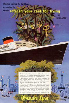 Bernard Villemot Vintage 1954 French Line Cruise Ships Ad Caribbean and France Afloat.