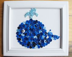 Whale Button Art Blue Canvas Panel 8x10 by HydeParkHome on Etsy, $25.00