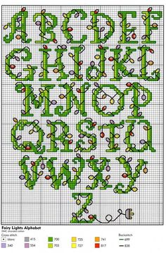 Graphed Cross Stitch Letters - children could copy to personalise embroidery projects: