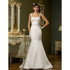 Trumpet/Mermaid Straps Sweep/Brush Train Satin Weddimg Dress (783897) – EUR € 81.67