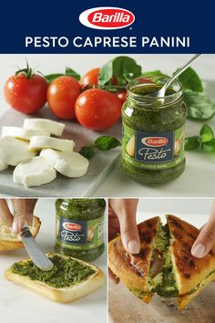 Start with a caprese panini and flavor it Italian with pesto made with 100 Italian basil and cheeses. It's the sandwich you'll want for breakfast, lunch or dinner. Vegetarian Recipes, Cooking Recipes, Healthy Recipes, Caprese Panini, Love Food, The Best, Food To Make, Food Porn, Snacks