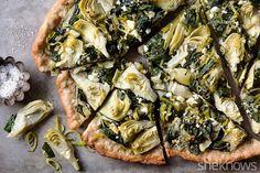 thin crust spinach artichoke pizza