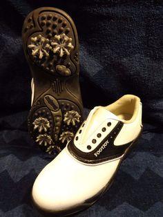 FOOTJOY Golf Shoes Women Size 6.5 White Black Oxford Soft Spikes Ladies Greenjoy #FootJoy