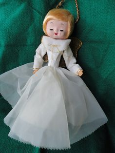 Vintage White Angel Christmas Tree Topper Made in Japan