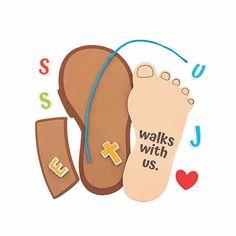 Jesus Walks with Us Sandal Craft Kit Bible Study Crafts, Bible Crafts For Kids, Toddler Crafts, Sunday School Crafts For Kids, Sunday School Activities, Activities For Kids, Christian Preschool, Christian Crafts, Preschool Lesson Plans
