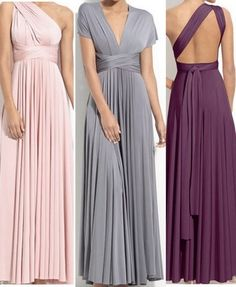 Convertible bridesmaid dress. Love these! Now you can flatter your bridesmaids' shape while wearing the same dress!