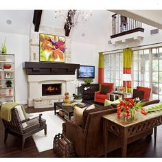 Fun and colorful #livingroom #home #homedecor #decor #homedesign #design #designoftheday #interiors #interiordesign #ig #igdaily #picoftheday #pictureoftheday #photooftheday #instahub #instapic #instagood #instahome #instadaily #instadecor #instadesign #instagramer #instafollowers #instainteriors #follow #ideas... - Interior Design Ideas, Interior Decor and Designs, Home Design Inspiration, Room Design Ideas, Interior Decorating, Furniture And Accessories