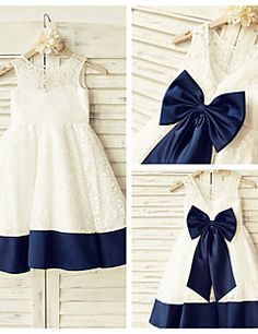 A-line+Knee-length+Flower+Girl+Dress+-+Lace+/+Satin+Short+Sl...+–+USD+$+59.99