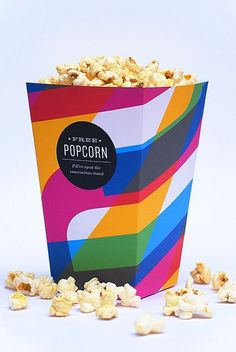 An endless collection of food related design and packaging inspiration Popcorn Packaging, Pretty Packaging, Beverage Packaging, Brand Packaging, Packaging Design, Product Packaging, Popcorn Containers, Popcorn Boxes, Popcorn Holder