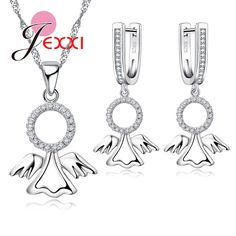 Jemmin Classic Angel's Wings Design Sterling Silver Jewelry Set For Women Lover Round Crystal Earrings And Necklace Sets //Price: $US $10.96 & FREE Shipping //     #cosmetics