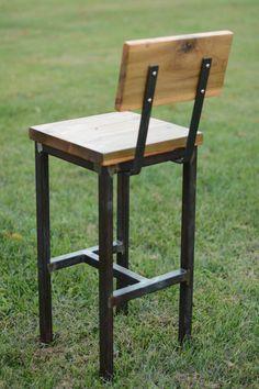 Wood and Steel Barstool Rustic Industrial Welded Furniture, Iron Furniture, Steel Furniture, Handmade Furniture, Furniture Removal, Luxury Furniture, Furniture Design, Diy Bar Stools, Rustic Bar Stools
