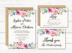 Wedding Invitation, Watercolor Wedding Invitation, Printable Wedding Invitation, Boho Wedding Invitation, Wedding Invite Set, Wedding Invite