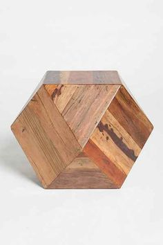 """Faceted Woodblock Side Table - 18"""" cube, $298"""