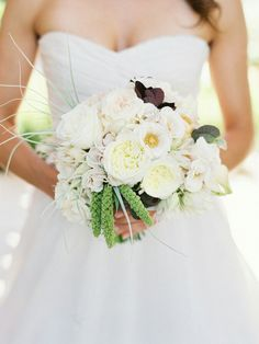 Pretty Bridal Bouquet Which Includes: Anemones, English Garden Roses, Spray Roses, Millet & Other Coordinating Florals & Foliage
