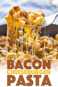 Bacon Cheeseburger Pasta combines elbow macaroni, ground beef, and bacon along with cheddar and mozzarella cheeses for a hearty weeknight family dinner! ideas with ground beef Bacon Cheeseburger Pasta is a delicious dinner! Bacon Cheeseburger Casserole, Cheeseburger Pasta, Cheeseburger Quesadilla, Ground Beef Recipes For Dinner, Dinner With Ground Beef, Bacon Recipes For Dinner, Yummy Pasta Recipes, Cooking Recipes, Nytimes Recipes