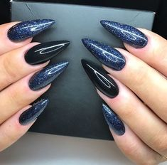 341 Best Nail art images in 2020 Acrylic Nails Coffin Matte, Blue Stiletto Nails, Halloween Acrylic Nails, Pointed Nails, Gem Nails, Hair And Nails, Fabulous Nails, Gorgeous Nails, Gem Nail Designs