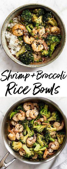 These easy shrimp and broccoli bowls are quick, healthy, and delicious! The perfect tasty weeknight meal idea. #shrimprecipe #broccolirecipe #ricebowl #comfortfood #healthyrecipes
