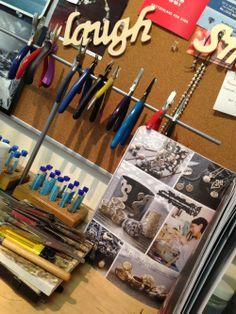 Jewelry workbench at ACJ Jewelry studio www.anacavalheiro.com #gems, #jewelry studio #jewelry displays # jewelry inspiration # jewelry tools #scoutguide