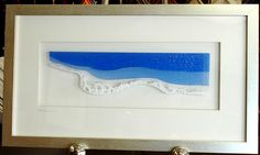 "Reminiscent of the beautiful coast line beaches and white sand of Nova Scotia.  Fused glass panel - 24"" X 15 - available at Kingston Frameworks."