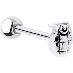 Stainless Steel Hand Grenade Barbell Tongue Love it Mens Piercings, Cool Piercings, Facial Piercings, Tongue Piercing Jewelry, Tongue Piercings, Piercing Tattoo, Body Piercing, Tragus, Tongue Rings
