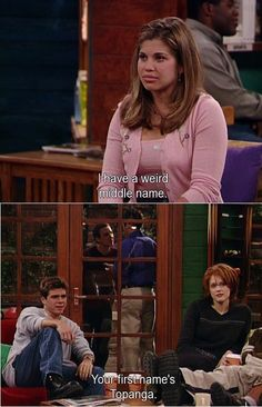 Ive seen this pin a few times. and I thought it was funny, but then I actually watched this episode and now I notice Cory and topanga's professor in the background, about to get into a fight because he (the professor) came onto topanga. And its a really dramatic scene because topanga isn't listening to the conversation, and this is her halfhearted answer.