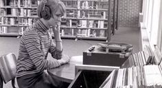 Today we throw it back to a student listening to music from a record player in Post University's library decades ago! #Post125 #tbt