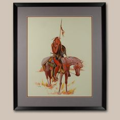 Original Painting of a Navajo Hunter or Warrior by Irving Toddy - C3834B #adobegallery #SouthwestIndianArt #Navajo #Painting #IrvingToddyPainting #FineArt