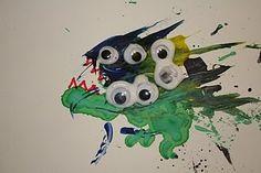 monster straw painting art