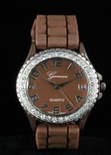 Crystal Large Round Face Brown Silicone Watch www.sterlingjewelrystores.com