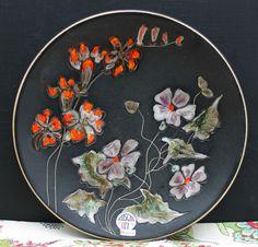 Grosser Keramik Wandteller von Ruscha art - Handarbeit    Blumenmotiv   !!!