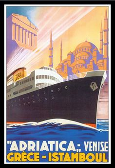 Steamship Travel Poster Greece Istanbol
