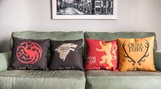 Set of 4 Game of Thrones Throw Pillow Case Sofa by GEEKandtheCHIC, $24.95