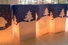 Sneeuwlandschap in het midden van de tafel, en iedere gast mag er eentje meenemen! (Tussen de bomen een lichtjesslinger prikken met de initialen van de gasten?)