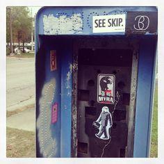 @crispstreetart @myrawexler @khyal @megaglamster Phone booth. Primrose & Robinson. #orlando #florida #graffiti #stickers ##streetart Orlando, FL. 5feb14.