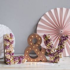 Purple and cream flower initials with copper &