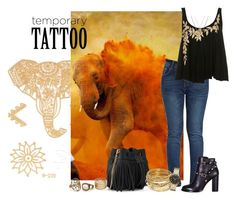 """""""Elephant"""" by kemp-jessica ❤ liked on Polyvore featuring beauty, Valentino, Whistles, ABS by Allen Schwartz, Marc by Marc Jacobs, Aéropostale and temporarytattoo"""