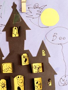 Great craft idea - haunted house (free printable template) with windows that open to reveal your ghouls!