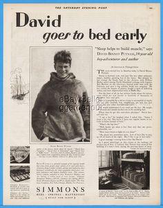 1928 Simmons Beautyrest Mattress Chicago IL David Binney Putnam Early Bedtime Ad