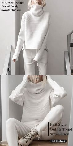 White Sweater Women casual style knit wear, speical design and comfy warm sweaters you would love it Fashion 2020, Look Fashion, Winter Fashion, Fashion Design, Knit Fashion, Knitwear Fashion, Fashion Spring, Retro Fashion, Latest Fashion