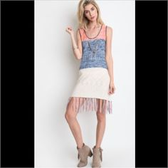 Fringe Trimmed Color Block Tank Dress Color Block Dress With Fringe. Coral, Blue, & White. Cotton/polyester loose sweater weave. 🚫 trades ⭐️posh rules only ⭐️ Trindy Clozet Boutique Dresses Mini