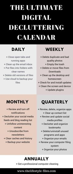 Would you like to clean up your phone computer and digital life? Use this digital decluttering calendar to get organized /// decluttering / organizing / simple living / productivity / digital decluttering tips / organize your life / organize your computer Organize Life, Declutter Your Life, Declutter Bedroom, Organization Station, Life Organization, Organizing Hacks, Cleaning Hacks, Organizing Clutter, Decluttering Ideas